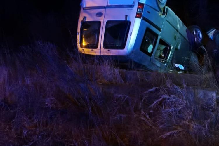 Mașină răsturnata la Aiud - FOTO