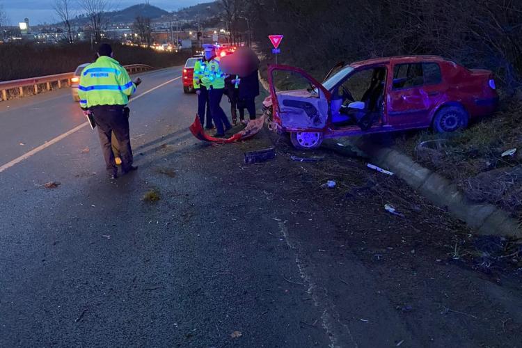 Accident pe DN14, la intrarea in Mediaș dinspre Sibiu - FOTO