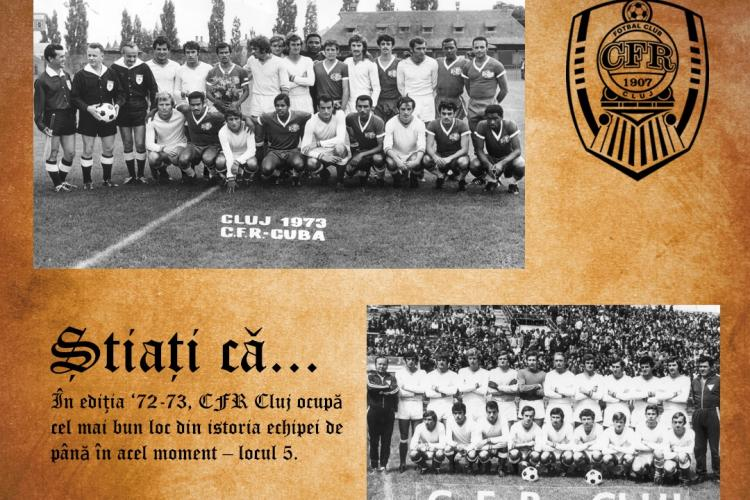 Istoria CFR Cluj între anii 1969-1976. Echipa a terminat pe locul cinci în 1972 , sub comanda doctorului Rădulescu - FOTO