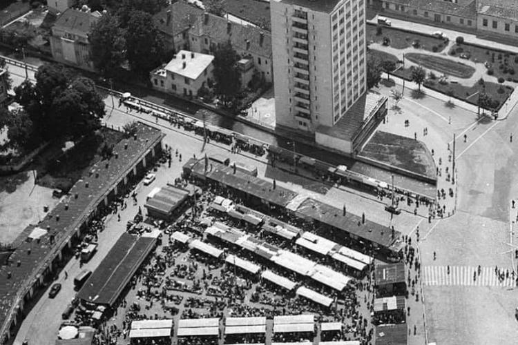Imagine cu Piața Mihai Viteazu, de când nu s-au turnat încă betoane peste tot - FOTO