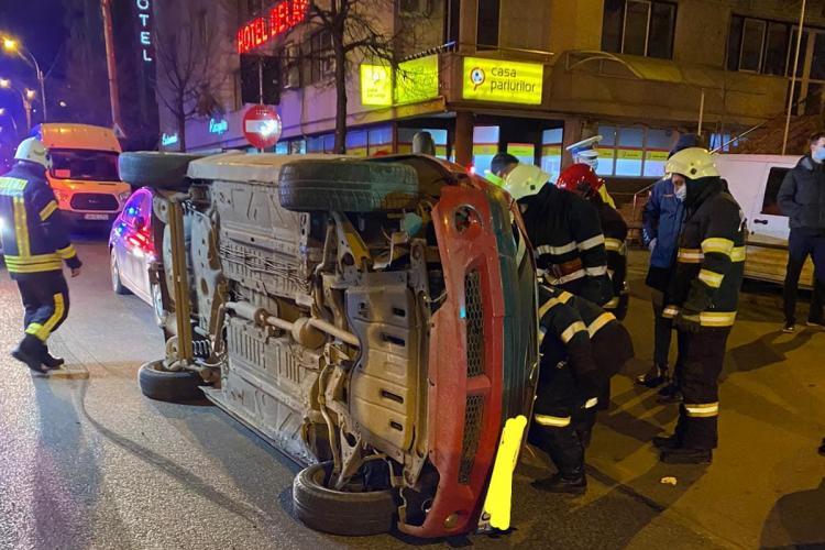 Mașină răsturnată pe Calea Dorobanților - VIDEO
