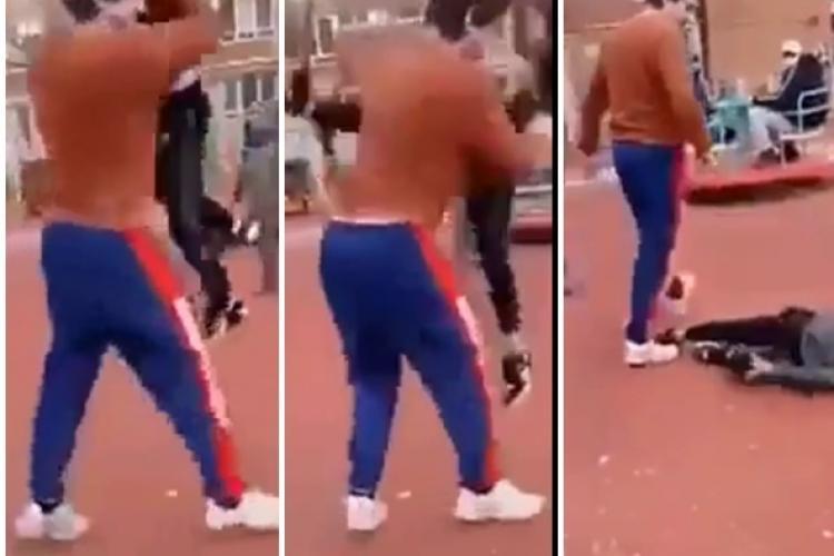 Părinte reținut după ce a dat de pământ cu un băiat, care se certa cu fiul lui în parc - VIDEO