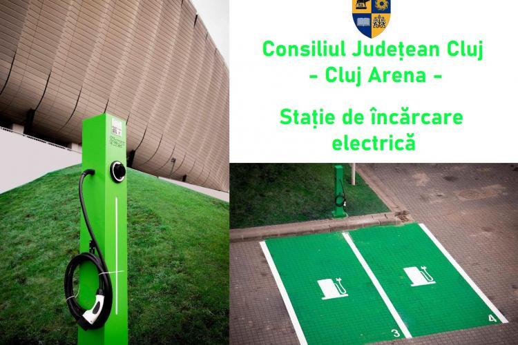 S-a amplasat o nouă stație de încărcare pentru mașinile electrice la Cluj Arena - FOTO