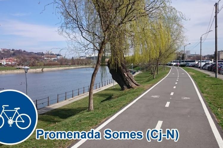 Pistă de biciclete pe malul Someșului pe traseul Gilău - Cluj-Napoca - Apahida - Bonțida