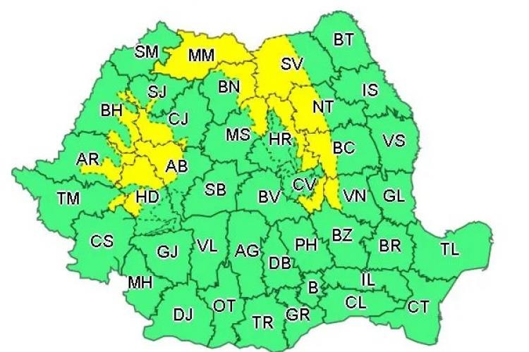 METEO. Iarnă în toată regula. COD GALBEN de ninsori și viscol în județul Cluj și alte 15 județe
