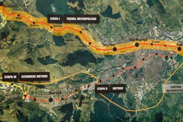 Metrou Cluj - Metroul va fi dus, în etapa a doua, până la Gilău