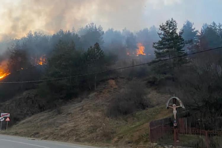Incendiu de vegetație la Băișoara! Intervenție a celor de la CERT, alături de pompieri - VIDEO