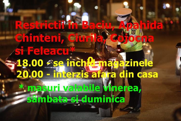 Restricții în Baciu, Apahida, Chinteni, Ciurila, Cojocna și Feleacu începând de duminică, 28 martie