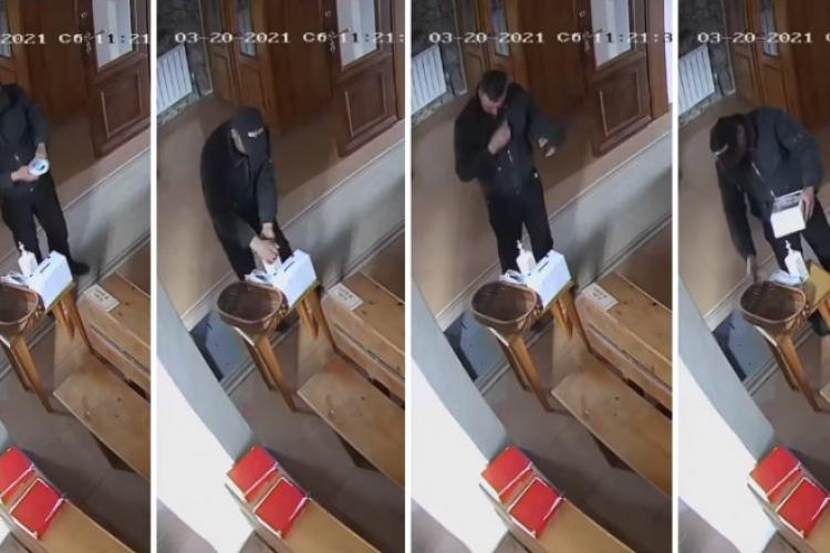 Hoț filmat când își dezinfecta mâinile și își face cruce în biserică, înainte de a fura banii din cutia milei - VIDEO