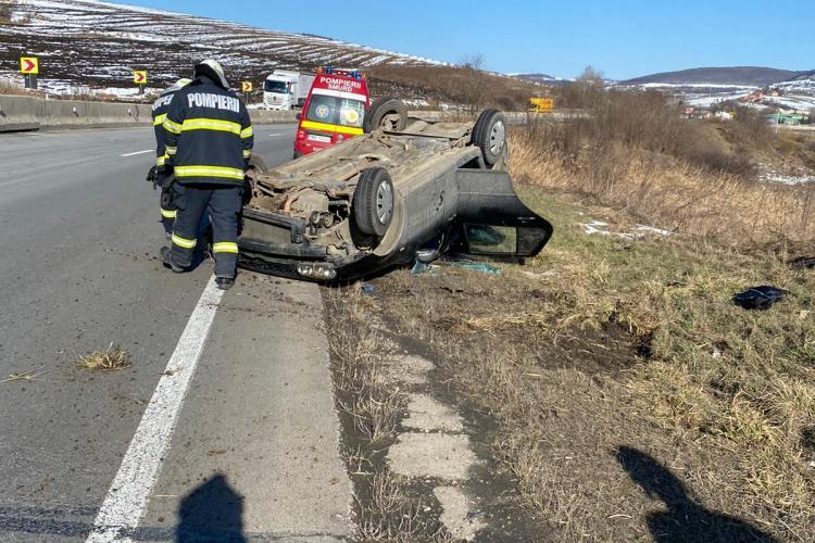 Accident grav la Vâlcele, dinspre Turda. Mașină răsturnată