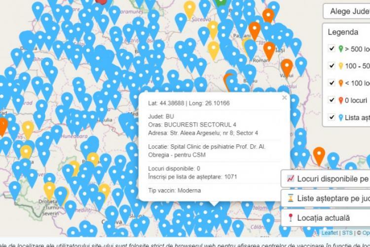 Platforma de vaccinare afișează de astăzi tipurile de vaccin din fiecare centru. Harta interactivă a centrelor de vaccinare