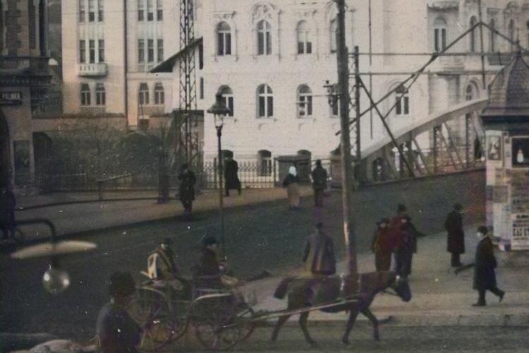 Două fotografii senzaționale din Clujul Vechi! Someșul - copiii la pescuit și intersecția Horea cu Piața Mihai Viteazu - FOTO