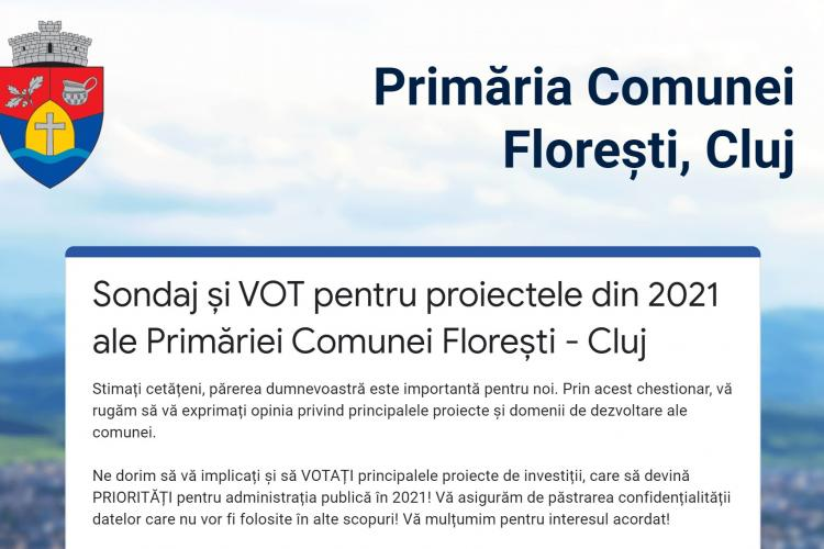 Primarul Bogdan Pivariu a lansat un sondaj pentru a identifica prioritățile Floreștiului