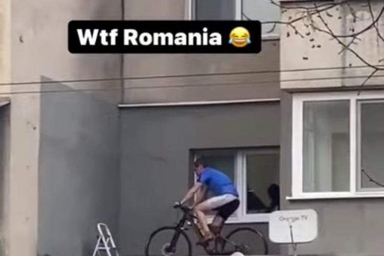 Un clujean și-a montat bicicleta pe balcon, sătul de restricții - VIDEO