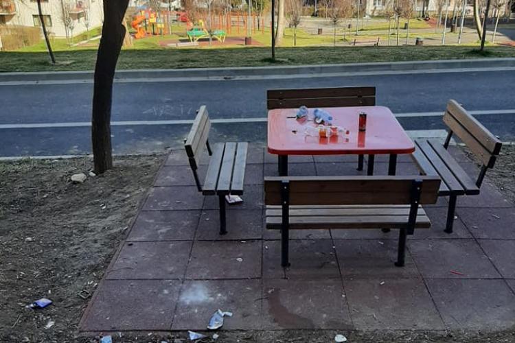 Așa arată în fiecare dimineață noul parc din Mănăștur, strada Primăverii - FOTO