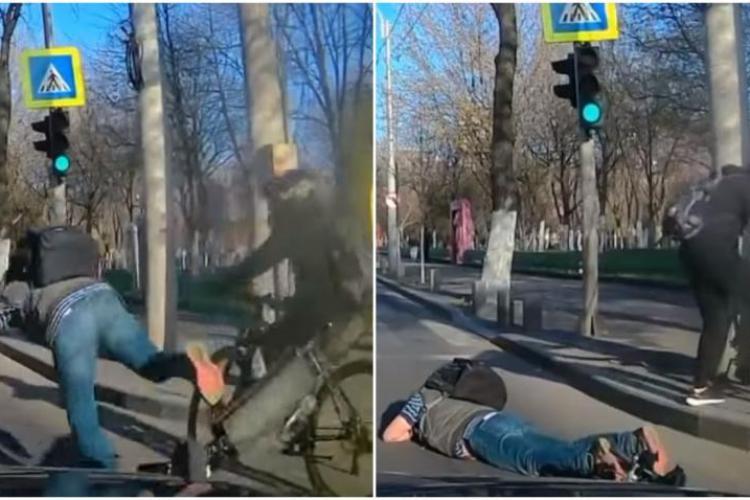 Nu doar mașinile provoacă accidente! Accident între o bicicletă și o trotinetă. Un bărbat a căzut în fața unei mașini - VIDEO