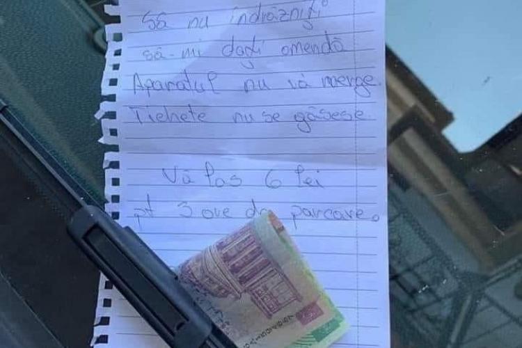 Povestea banilor lăsați la Cluj în parbriz, de o tânără care nu a putut plăti parcarea. E veche, dar e amuzantă - FOTO