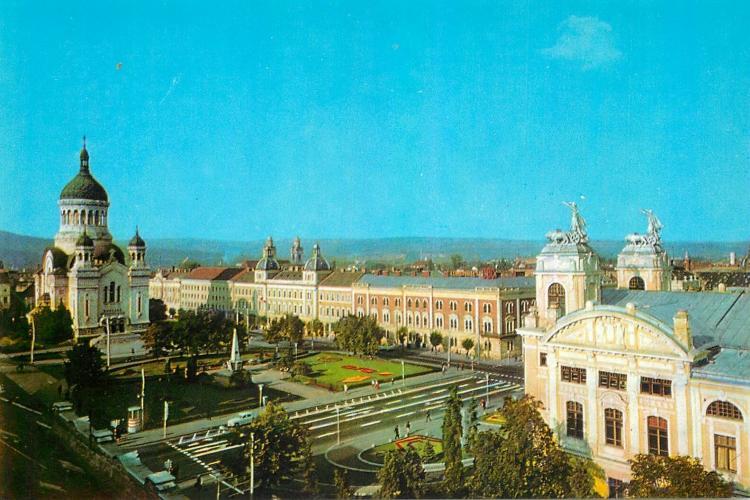 Piata Avram Iancu plină de verdeață și fără statuia lui Avram Iancu, înainte de 1989 - FOTO
