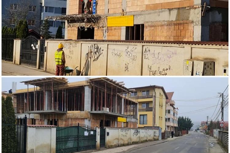 """Victorie în lupta cu """"rechinii imobiliari"""" din Florești! Și-a demolat singur balcoanele de peste trotuar - FOTO"""