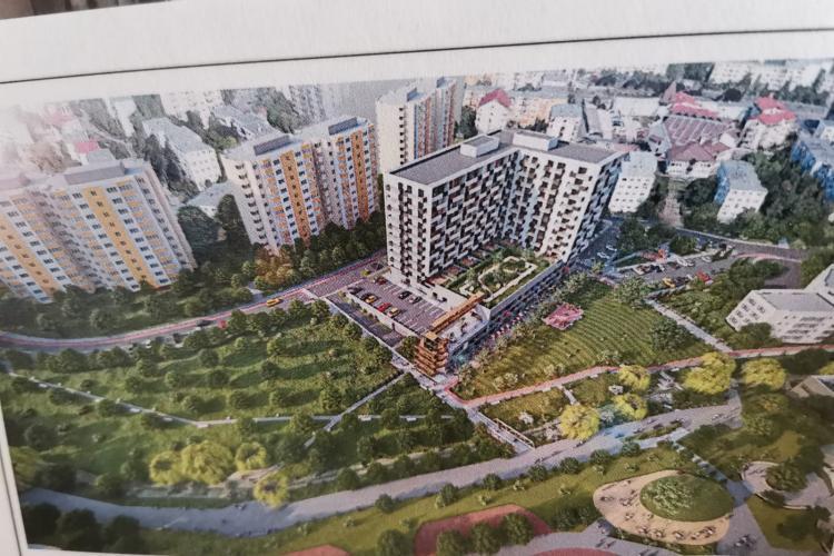 Un alt bloc NESIMȚIT propus în Mănăștur! 13 etaje în fața blocurilor de 10 etaje. Va fi război pe Parâng - FOTO