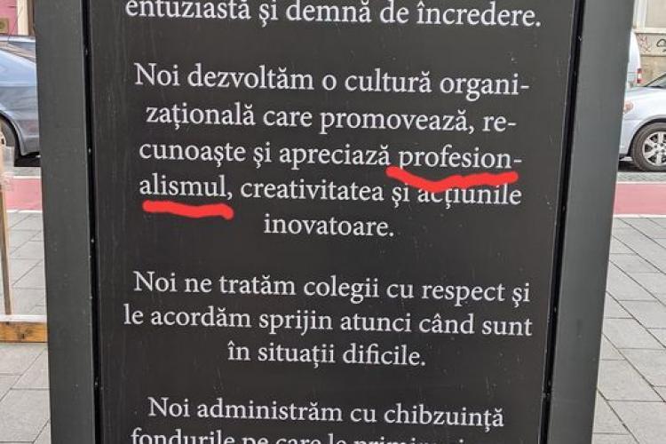 Greșeală gramaticală a Poliției Cluj , taxată pe Internet - FOTO