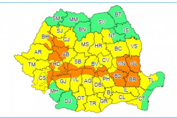 METEO. Cod portocaliu și cod galben de ploi abundente în aproape toată țara, până vineri