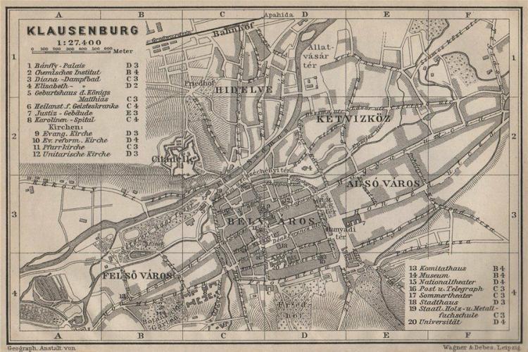 Planul orașului Cluj, Klausenburg, Kolozsvar, în 1905 - FOTO