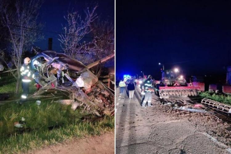 Tânăr mort pe loc într-o maşină care a ajuns într-un copac, după impactul cu un tractor - FOTO