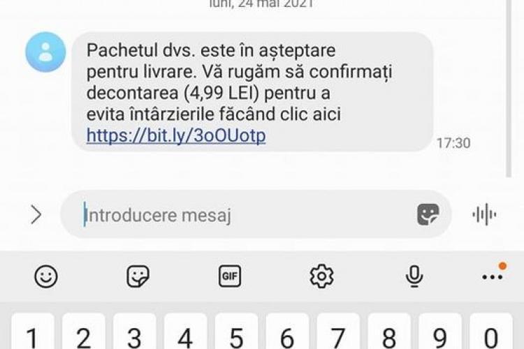 """Clujenii, bombardati cu SMS -uri """"otrăvite"""" despre colete pe care nu le-au comandat"""