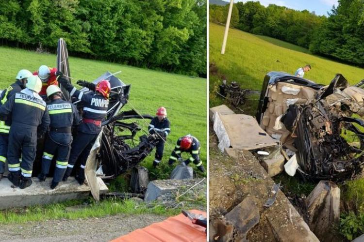 Accident rutier grav sâmbătă dimineață. O mașină a intrat într-un cap de pod. Trei bărbaţi au ajuns la spital - VIDEO