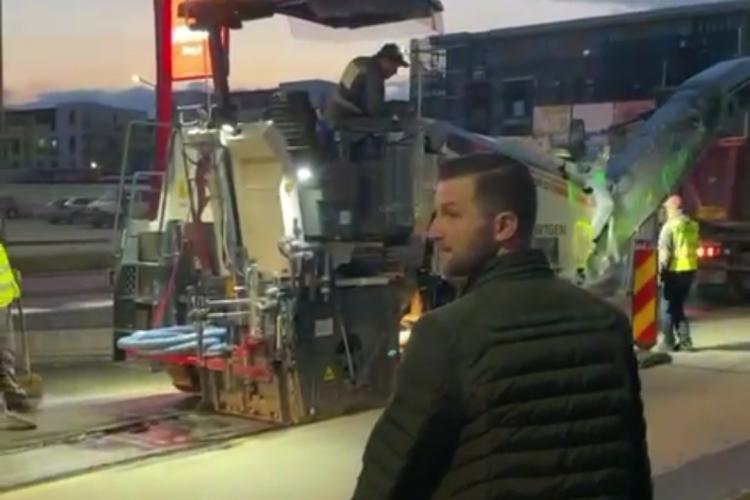 Pivariu surprins în Florești, inspectând lucrările de pe Eroilor - VIDEO