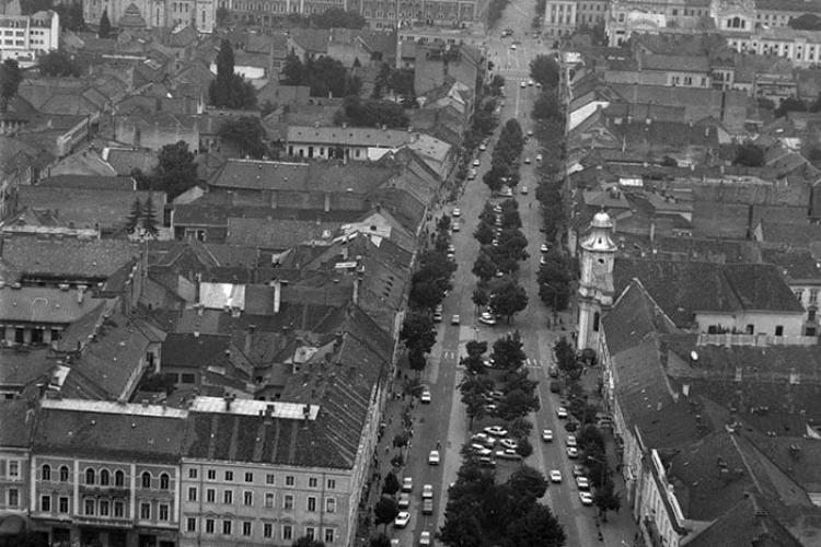 Bulevardul Eroilor văzut de sus! Fotografie din 1990 - FOTO