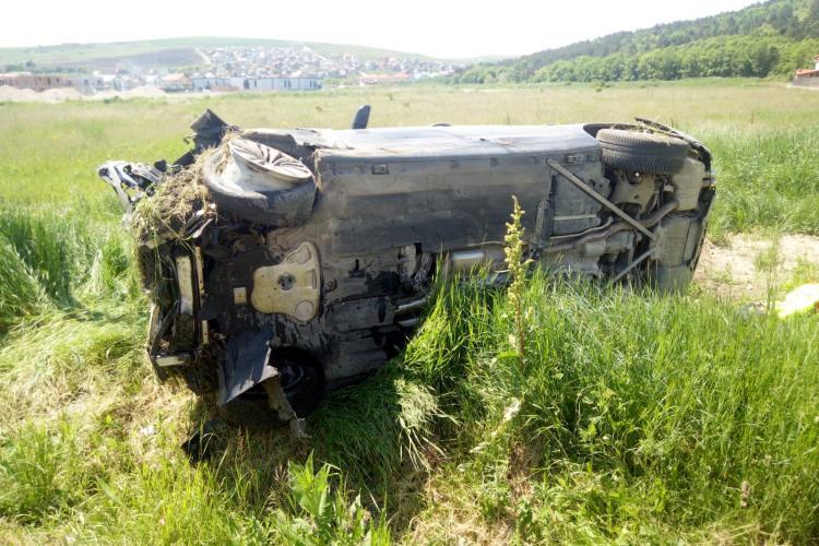 O mașină s-a răsturnat în Jucu de Mijloc - FOTO