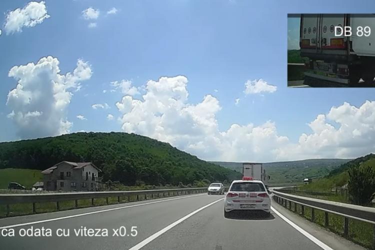 Încă un pilot de TIR la Cluj, pe centura Vâlcele Apahida. Depășire sinucigașă - VIDEO