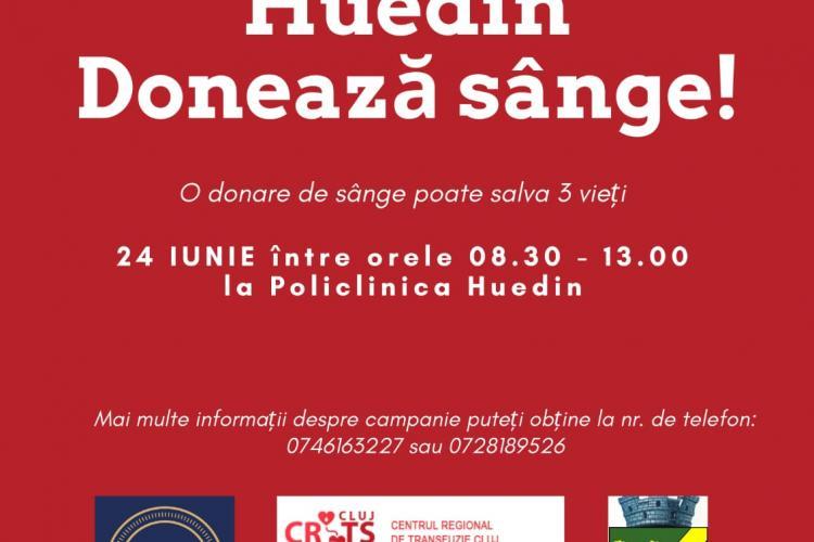 """Campanie de donare de sânge la Huedin: """"Fii erou, la Huedin! Donează sânge"""""""