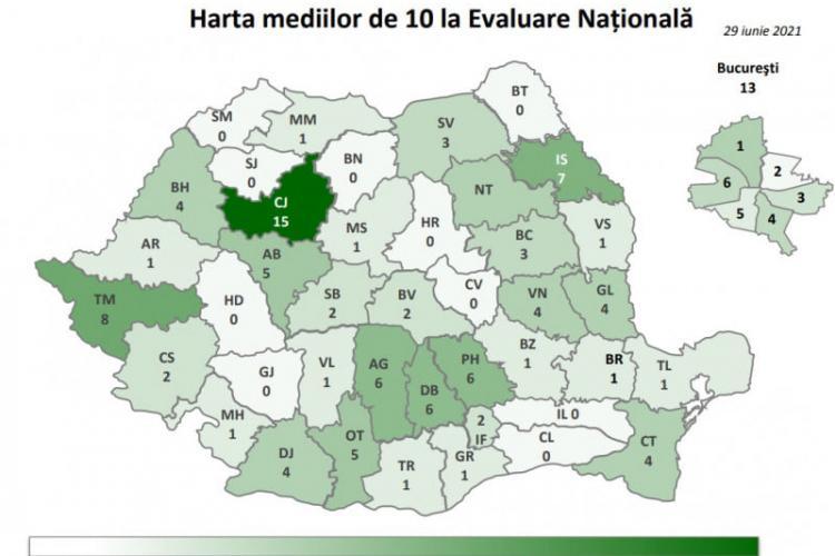 Harta mediilor de zece de la Evaluarea Națională pe județe - FOTO