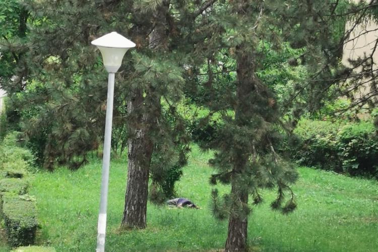 Imagine TRISTĂ din Gheorgheni. Un om fără adăpost doarme în parc - FOTO