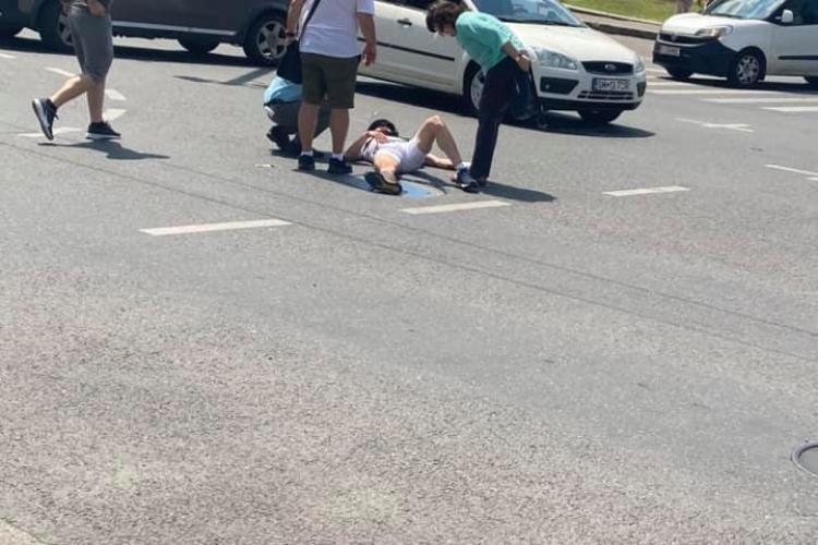 Accident în fața Teatrului Național Cluj - FOTO