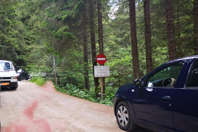 """Gunoaie și """"gunoaie"""" pe două picioare la cascada Vălul Miresei! S-au dus cu mașina până la obiectiv - FOTO"""