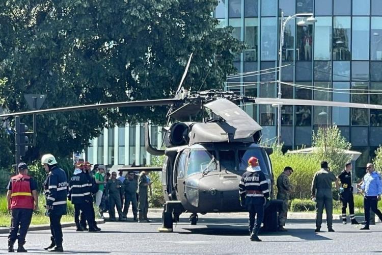 S-a aflat cauza aterizării forțate a elicopterului militar american în sensul giratoriu din București
