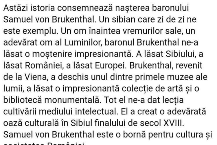 """Raluca Turcan i-a urat """"La mulți ani!"""" baronului Samuel von Brukenthal, mort în 1803"""