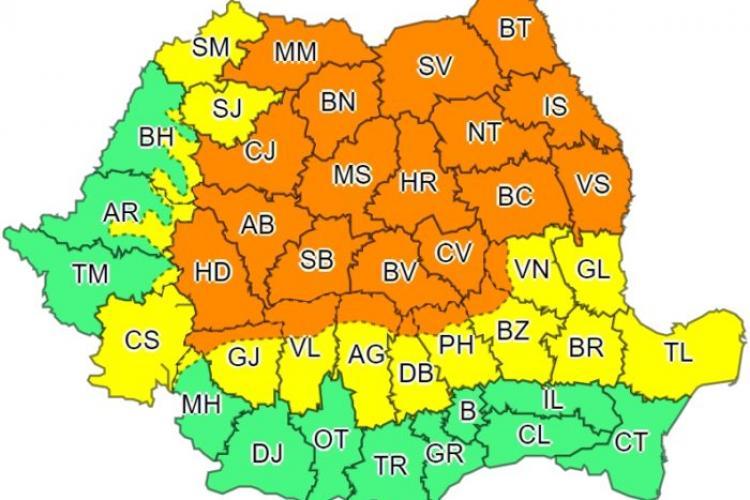 Cod portocaliu de ploi torențiale și GRINDINĂ la Cluj, începând de marți