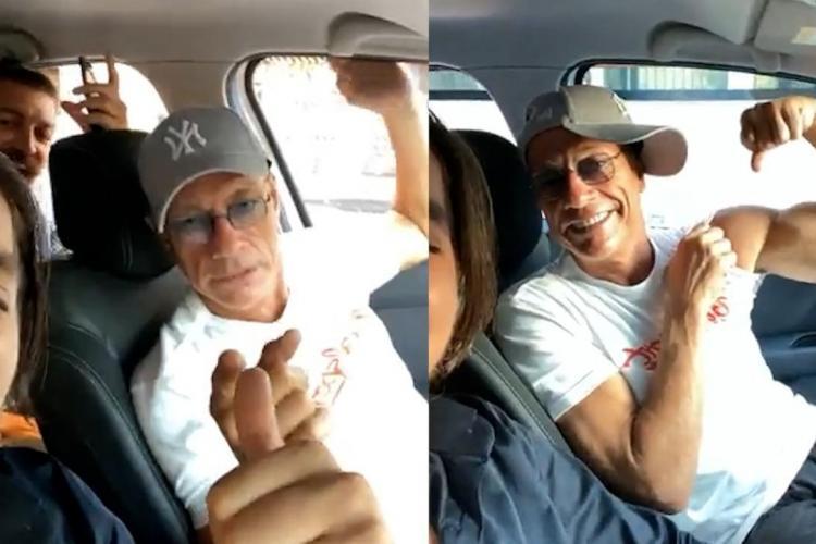 Jean Claude van Damme, filmat într-o mașină cu români din Cluj-Napoca, în timp ce asculta manele - VIDEO