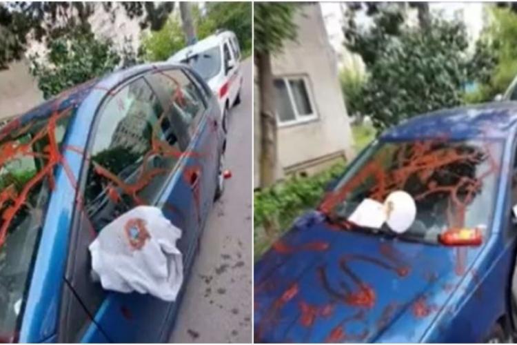 Cluj: Mesaj inedit de la amantă după ce i-a mânjit toată mașina cu ketchup - FOTO