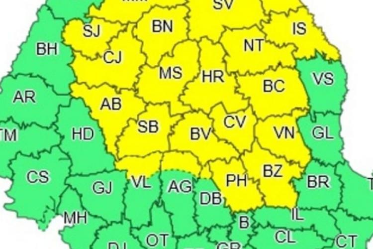 COD Galben la Cluj instabilitate atmosferică temporar accentuată
