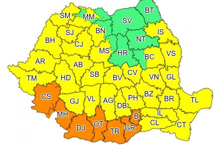 Cod galben de vijelii puternice și GRINDINĂ în Cluj și alte județe din țară