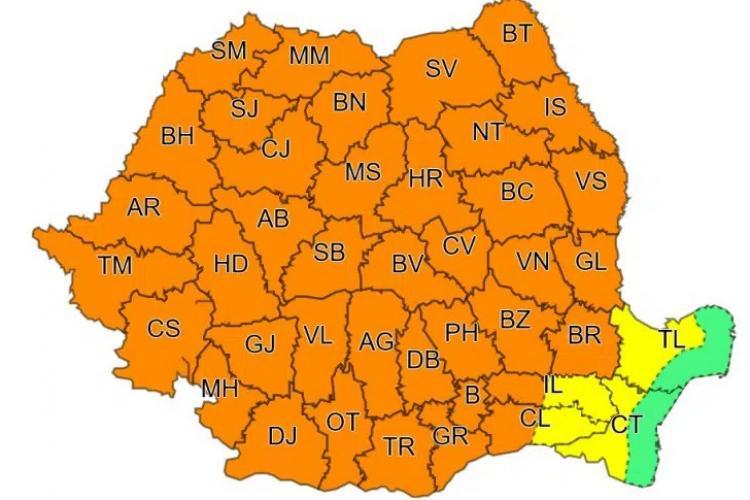 METEO. Cod portocaliu de vijelii și ploi torențiale în Cluj și majoritatea județelor din țară!