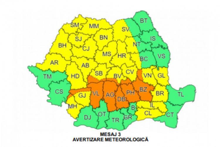 Cod galben de ploi torențiale și grindină în Cluj și alte județe, sâmbătă după-masă