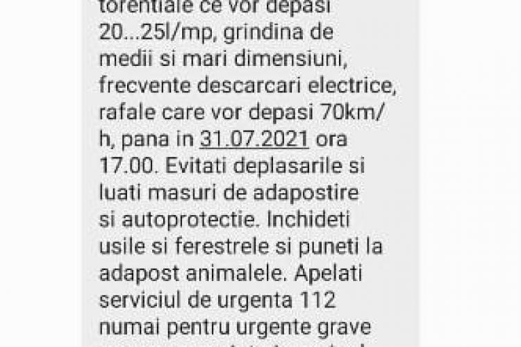 Cod portocaliu în județul Cluj! Localnicii din mai multe localități au primit mesaje Ro-Alert