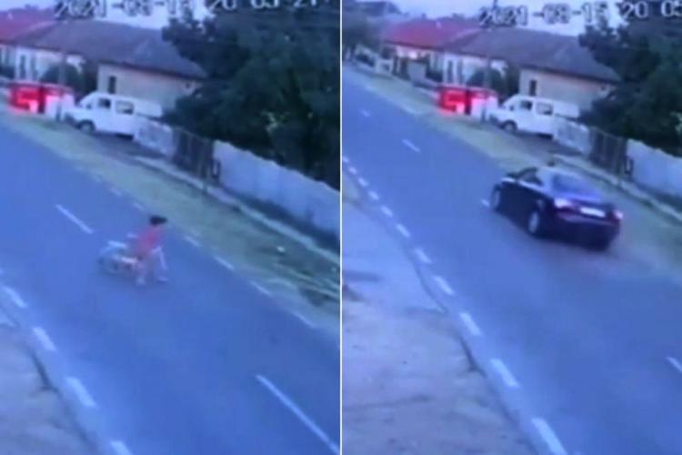 O fetiță de șapte ani din Dolj, spulberată de pe bicicletă. Șoferul care gonea nebunește a lăsat copila fără suflare - VIDEO